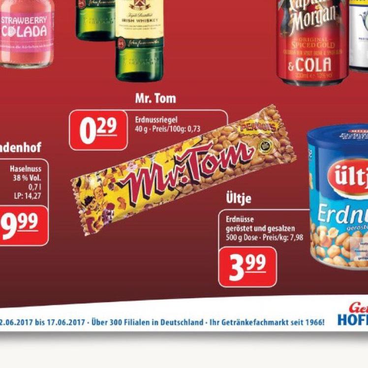 [Lokal Deutschlandweit] Mr. Tom für 0,29€ bei Getränke Hoffmann