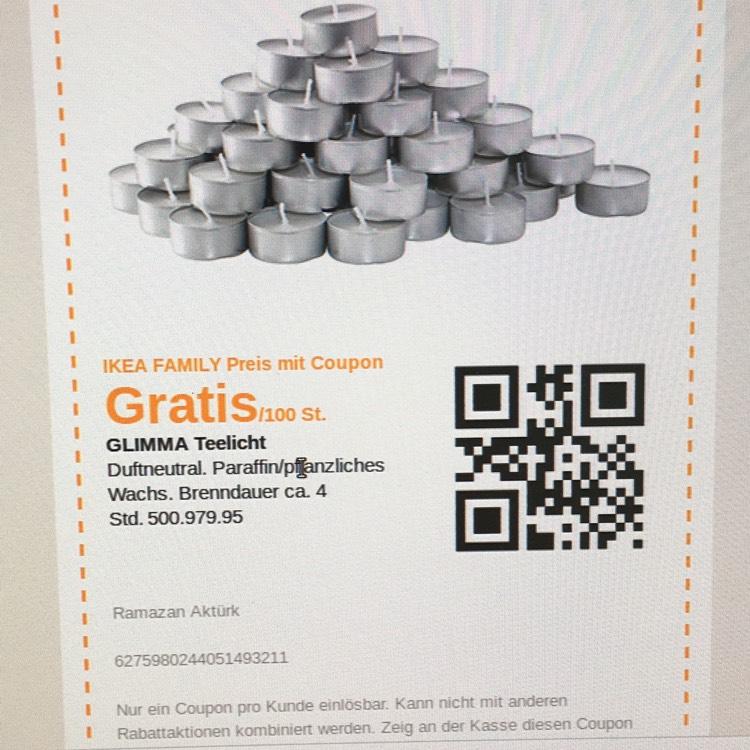 GLIMMA Teelicht  100 Stück gratis bei Ikea