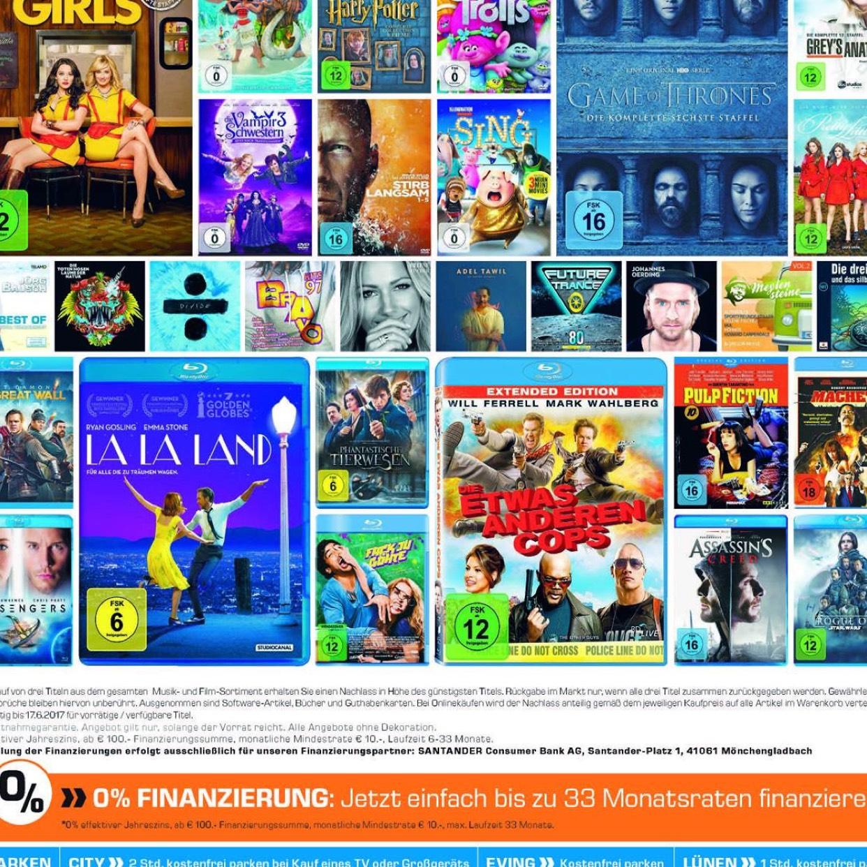 [ Lokal - Saturn Witten, Dortmund, Lünen & Dortmund Eving ] 3 für 2 auf Filme und Musik