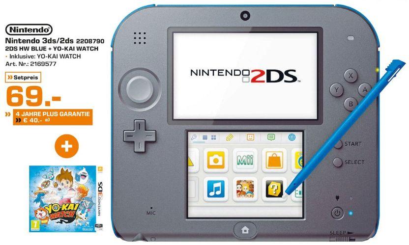 [Lokal Saturn Bochum/Hattingen) Nintendo 2DS - Spielekonsole (blau) inklusive YO-KAI WATCH (vorinstalliert) für 69,-€