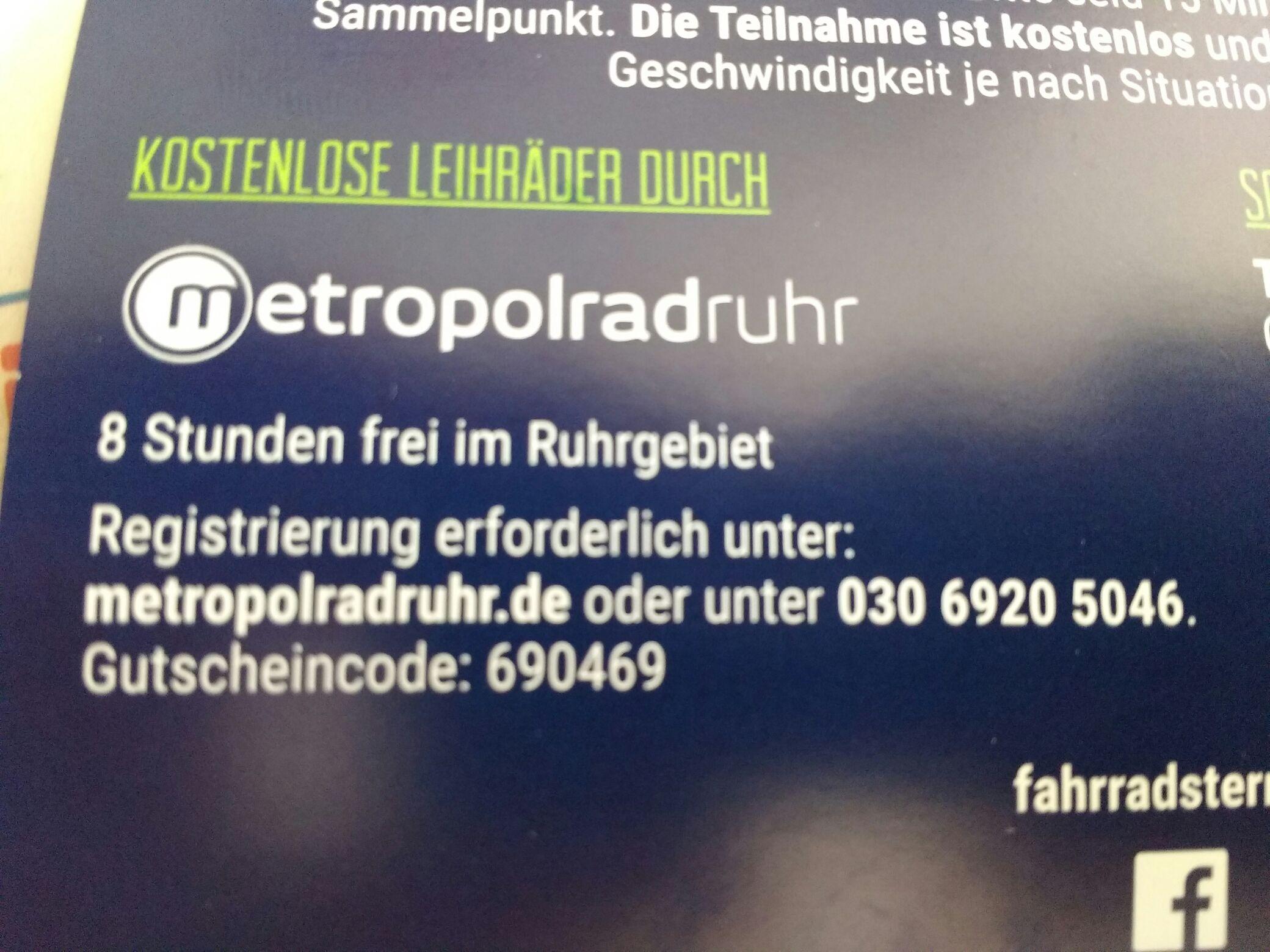 Metropolradruhr - 8 Stunden kostenlos Rad nutzen [Ruhrgebiet]