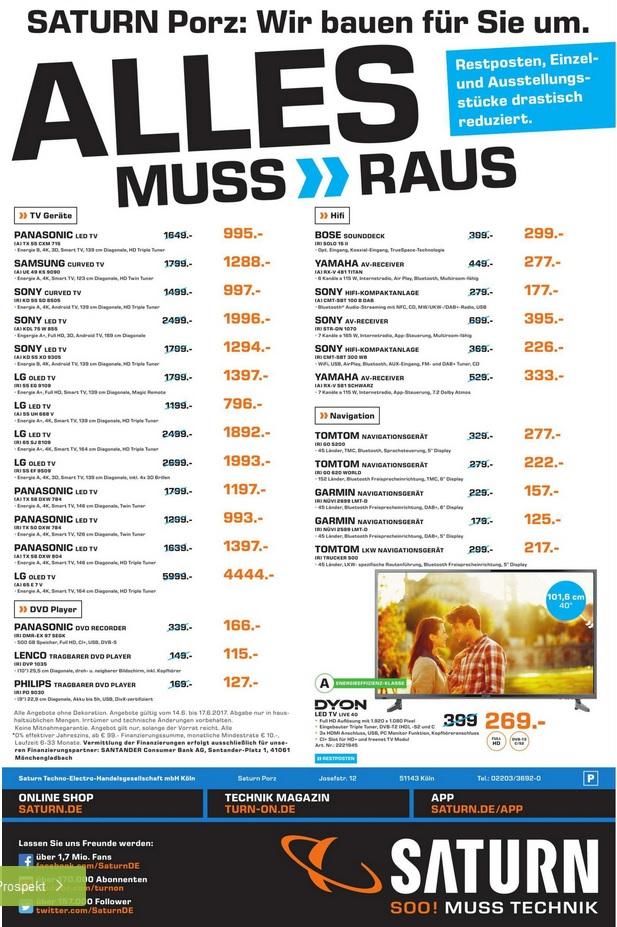 """""""ALLES MUSS RAUS"""" mit tlw. sehr guten Angeboten IM TV / Hifi-Bereich z.B. Sony KD55XD9305 für 1294,00 € (@ Saturn Köln-Porz)"""
