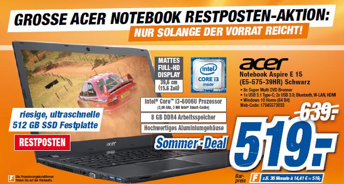 """Acer Notebook Aspire E 15 (E5-575-39HR) 15""""FHD/i3/8GB/512GBSSD/DVD-Brenner"""