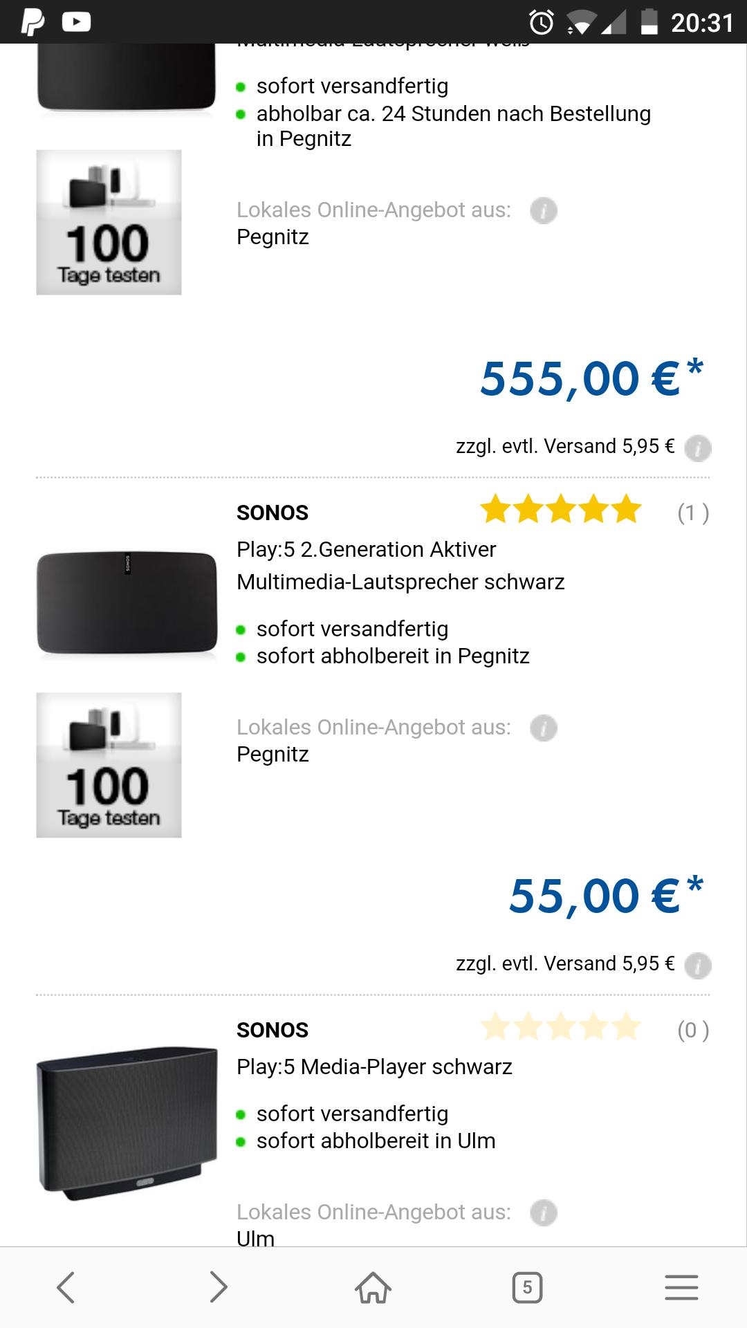 Sonos Play 5 für 55€ Preisfehler?
