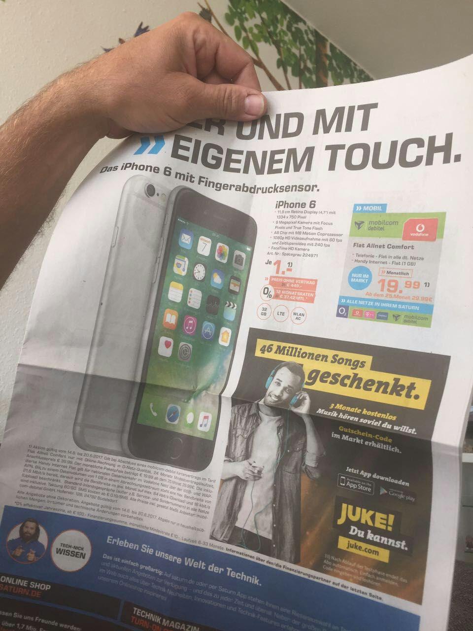[Lokal Saturn Magdeburg] IPhone 6 Grau, 32GB, Vodafone via MD Telefonieflat + 1 GB Internet für 19,99 Euro/Monat