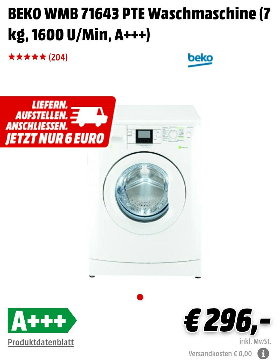 Media Markt - BEKO WMB 71643 PTE Waschmaschine - On- und Offline Deutschlandweit Preis: 296,- statt 318,90€ - *Update*: immer noch verfügbar!