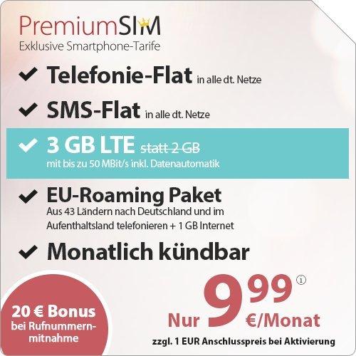 [PRIME] PremiumSIM 3 GB LTE-Internet , Telefonie-Flat und SMS-Flat. Europa-Paket, 9,99 Euro/Monat