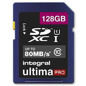 [Amazon] Micro SD Integral UltimaPro 95/80MB/s SDXC 128GB, UHS-I U1/Class 10 (INSDX128G10-90/80U1) für 36,96