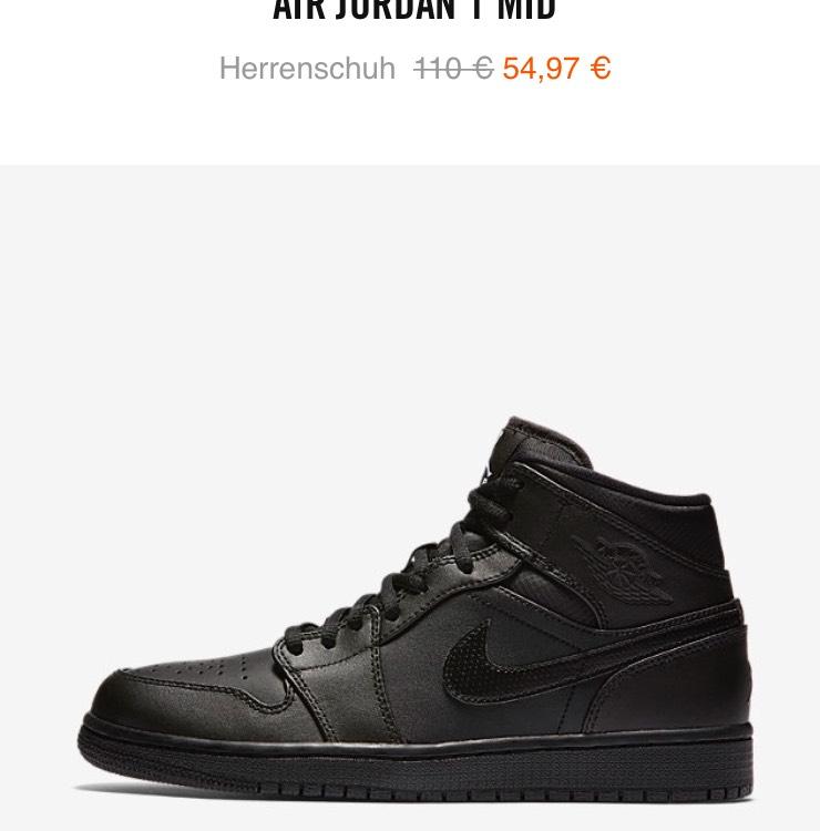 Air Jordan 1 Mid in komplett schwarz