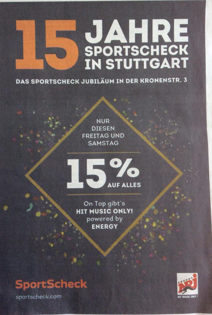 [lokal] 15% Rabatt auf Alles @ Sport Scheck Stuttgart