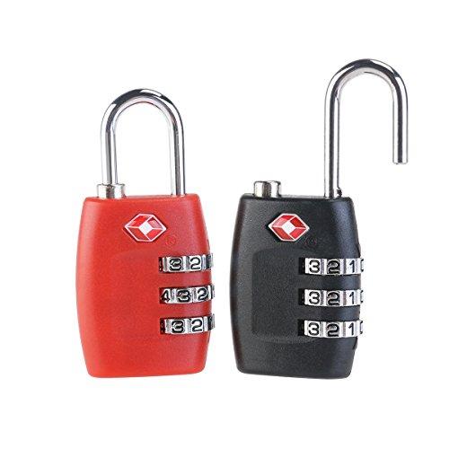 Amazon Prime - PIXNOR 2 Stück - Kofferschloss / Zahlenschloss / Vorhängeschloss  (rot + schwarz)