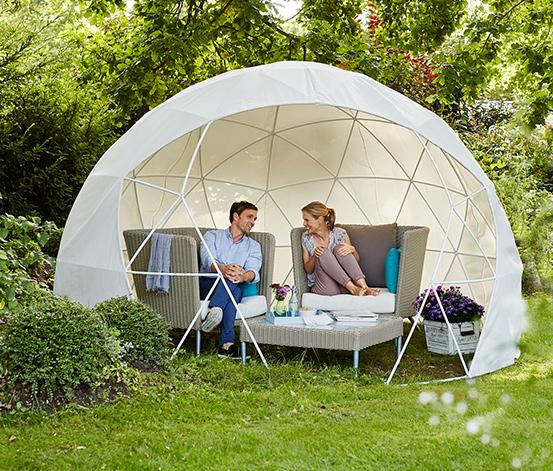 Gartenaktion bei Tchibo, z.B. Iglu-Pavillon mit Sommerdach und Wintergartenüberzug für 359,10€ statt 799€