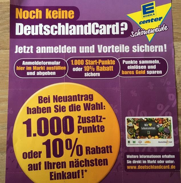 1000 Punkte (10€) für Neuantrag der Deutschlandcard (Berlin - Schöneweide)