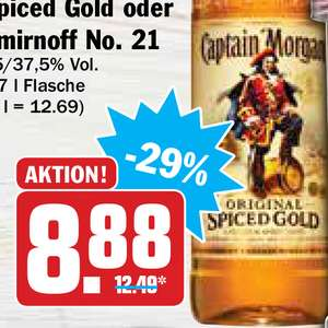 (HIT) Captain Morgan Spiced Gold oder White oder Smirnoff Vodka 0,7l für 8,88€