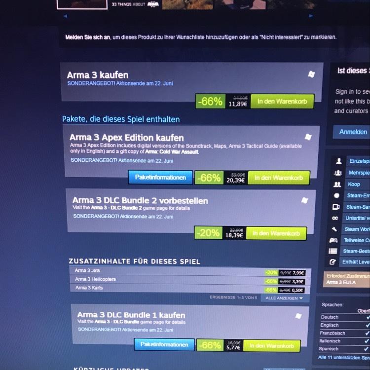 ARMA 3 (APEX auch) Steam Sonderangebot