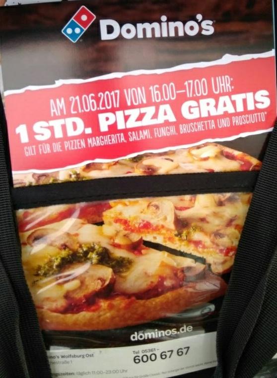 [Lokal Wolfsburg] Gratis Pizza bei Domino's (21.6 16-17 Uhr)