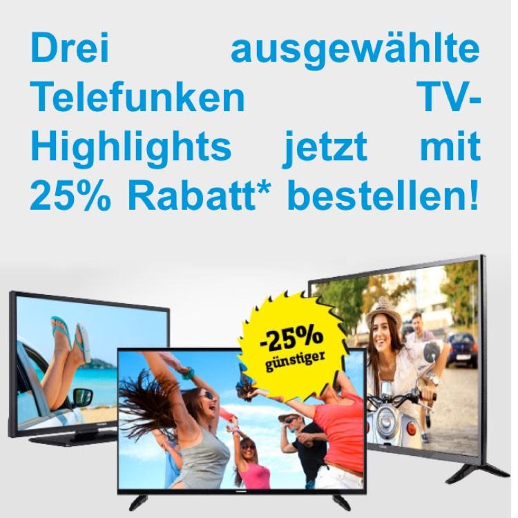 Drei Telefunken TVs mit 25% Rabatt