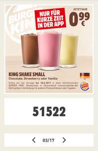 [Burger King - App] King Shake Small 300ml je 99 Cent