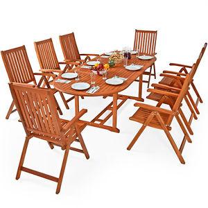 Sitzgruppe Moreno Sitzgarnitur Holz Gartengarnitur Gartenmöbel Gartentisch Tisch witterungsbeständiges Eukalyptusholz zusammenklappbar @ebay 339,96€
