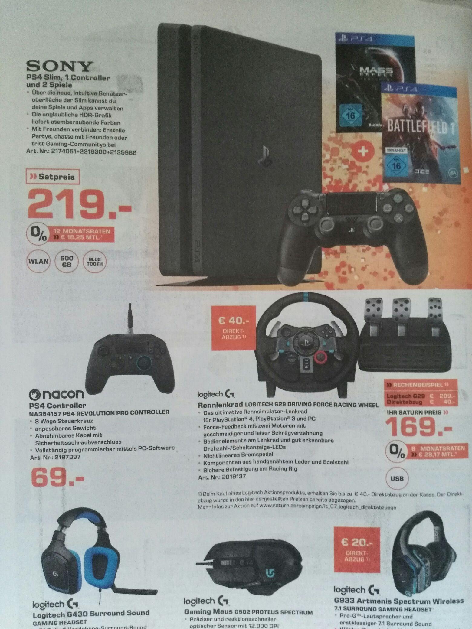 UPDATE mit Prospekt / Lokal Hennef PlayStation 4 Slim + 2 Spiele /  Logitech G29 für 169€