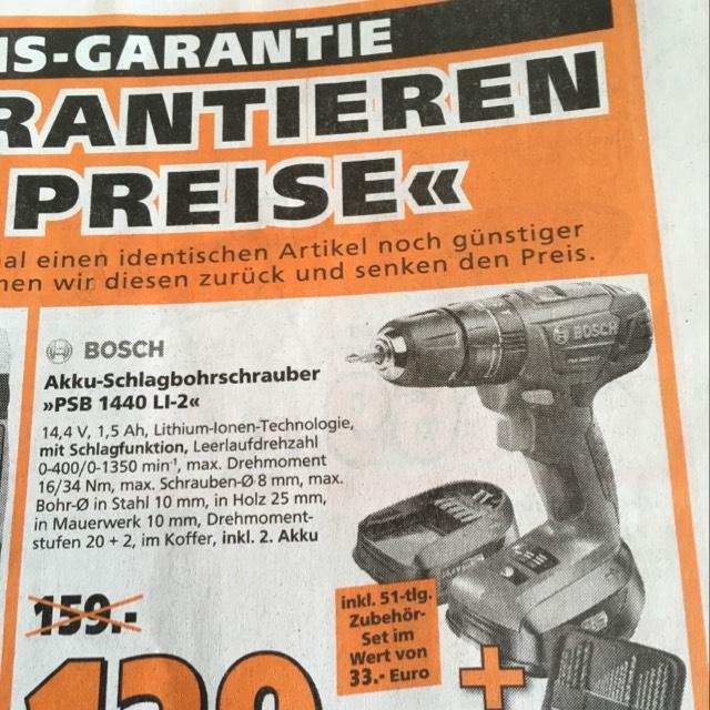 Globus Baumarkt Kaltenkirchen Akkuschlagbohrschrauber Bosch PSB 1440 LI-2