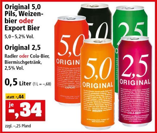 [Thomas Philipps]  5,0 Original Pils, Weizenbier, Export Bier und 2,5 Original Radler oder Cola-Bier für 34 Cent