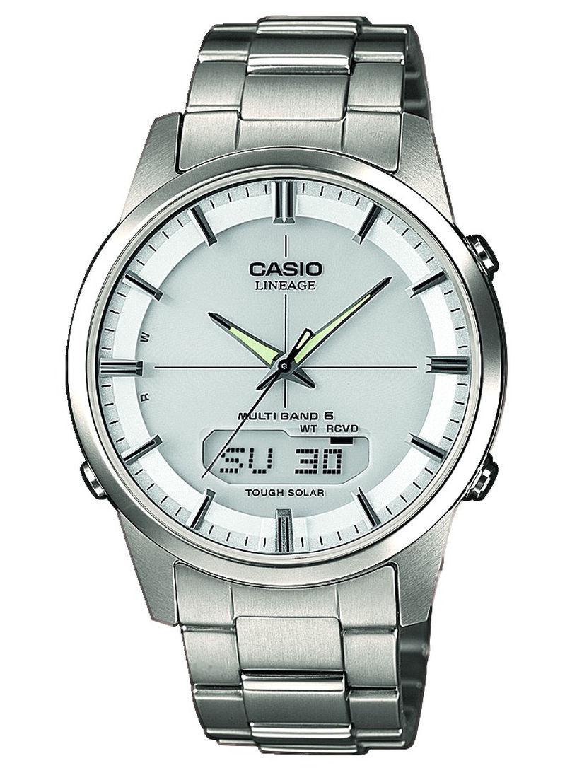Casio klassische Armbanduhr Funk Titan Solar mit Saphirglas