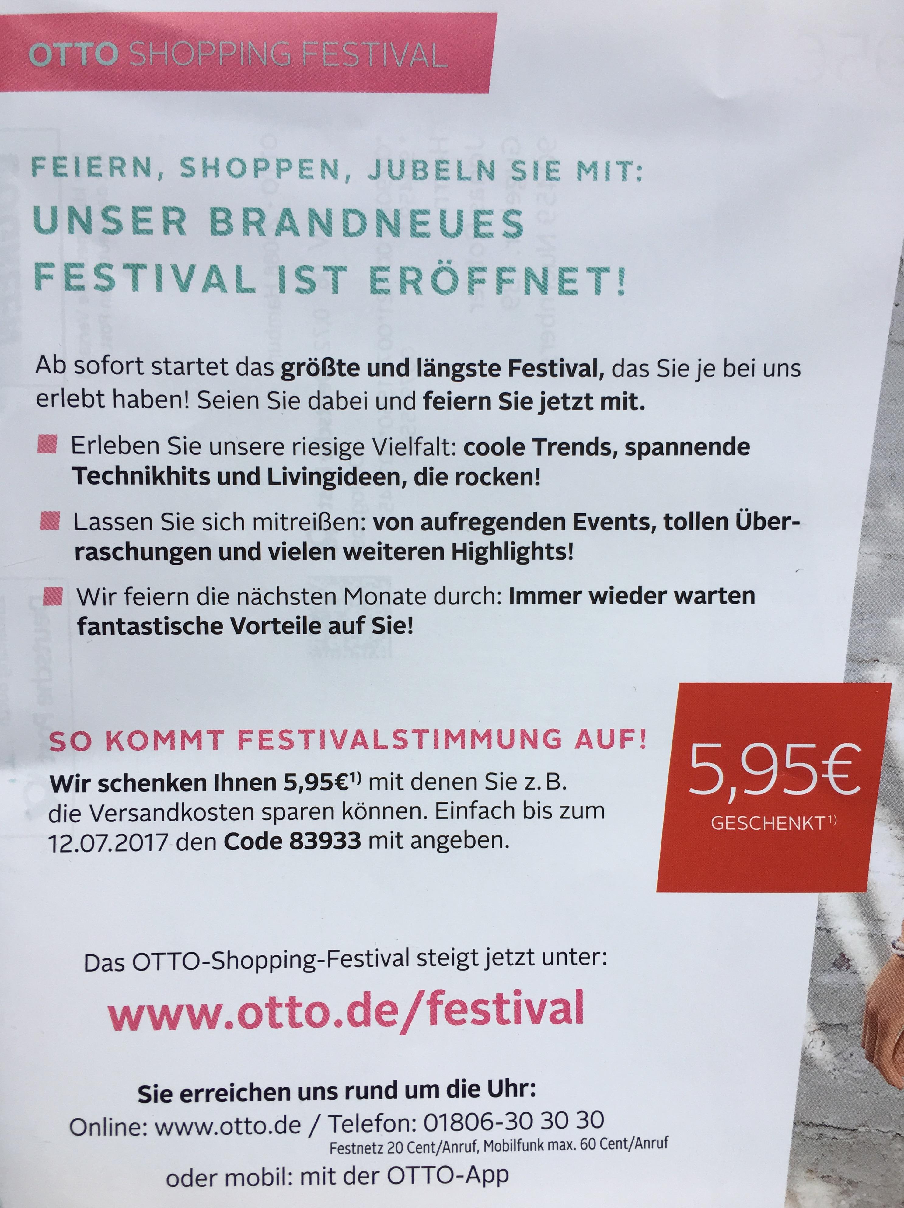 [Otto] 5,95€ Gutschein für Bestandskunden bis 12.07.2017