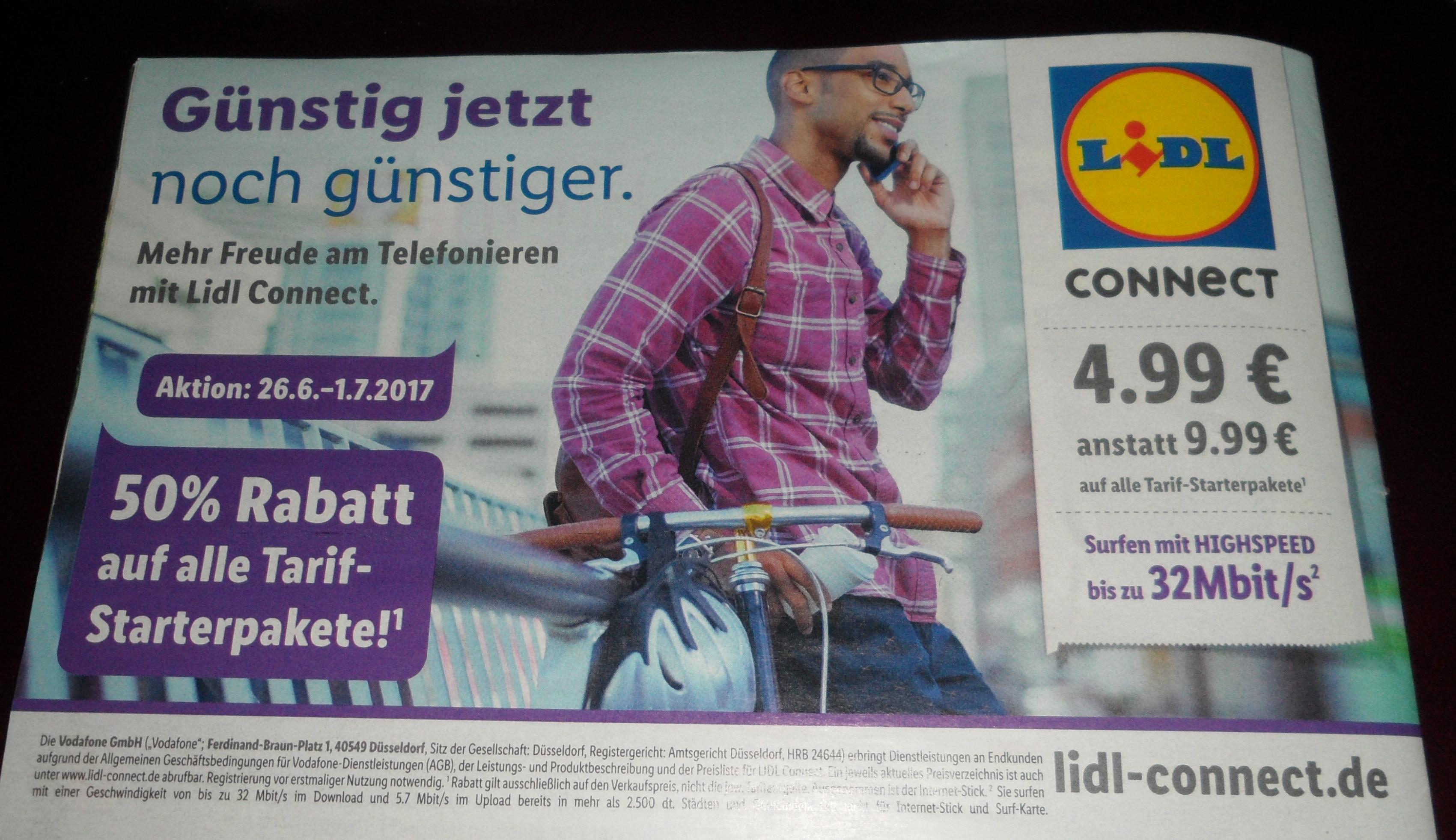 (Lidl Bundesweit & Online) 50% auf ALLE D2 Lidl Connect Starter Prepaid Pakete vom 26.06.- 01.07 für 4,99 statt 9,99