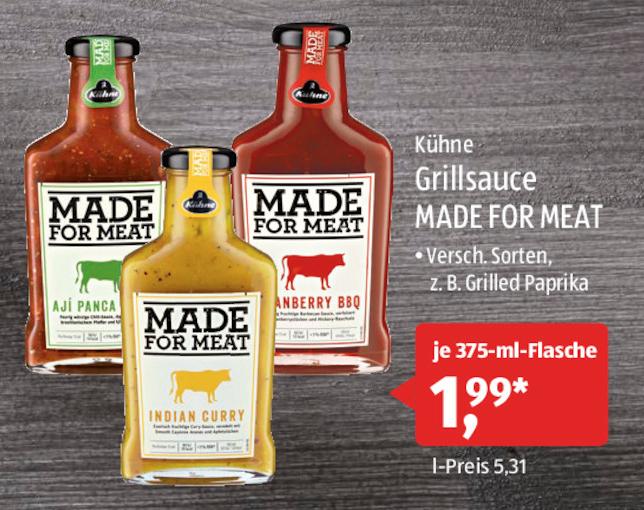 [Aldi-Süd] Kühne Made For Meat verschiedene Grill-Soßen für jeweils 1,99€ (evtl. durch 1€-Coupon nur 0,99€) am 30.06. und 01.07.2017