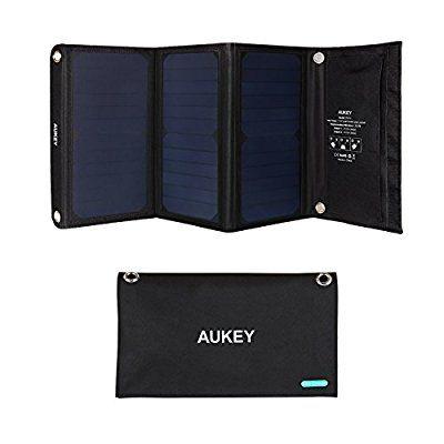 [Amazon Blitzangebot]  AUKEY Solar Ladegerät 21W mit 2 USB Anschlüssen, 5V 2A Max für jeden Anschluss 32.99 EUR