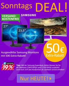 [Computeruniverse] Samsung Curved Gaming Monitor C24FG70FQU VA-Panel 144Hz Freesync 226 € inkl. 19 % Samsung Cashback (bis 28.06.17) und 2% Shoop