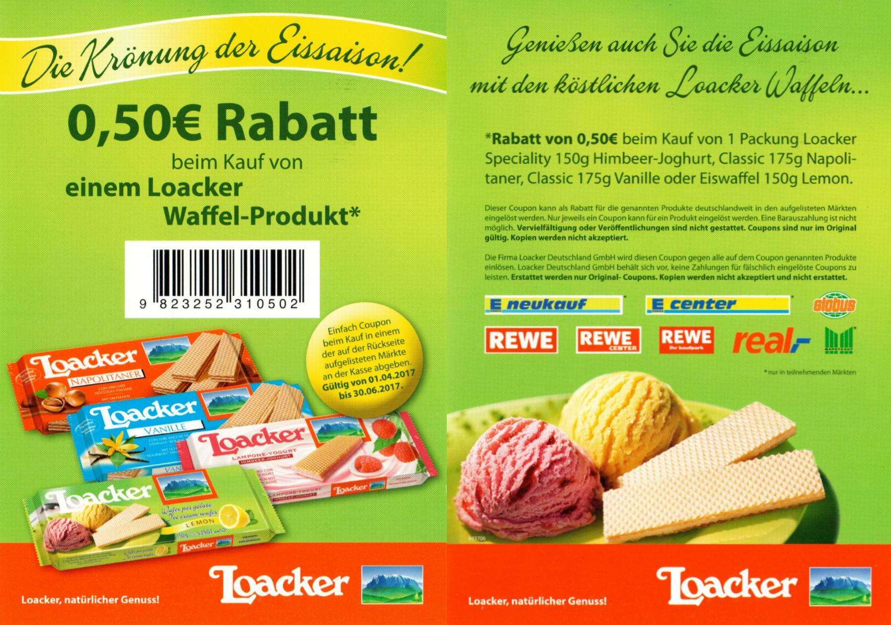 Neuer -0,50€ Sofort-Rabatt Coupon für Loacker Waffelprodukte [Bundesweit]