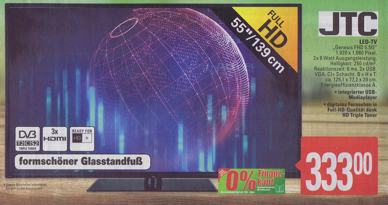 (Marktkauf) JTC Full HD LED TV 139,7cm (55 Zoll), Genesis 5.5G FHD, Triple Tuner 333€