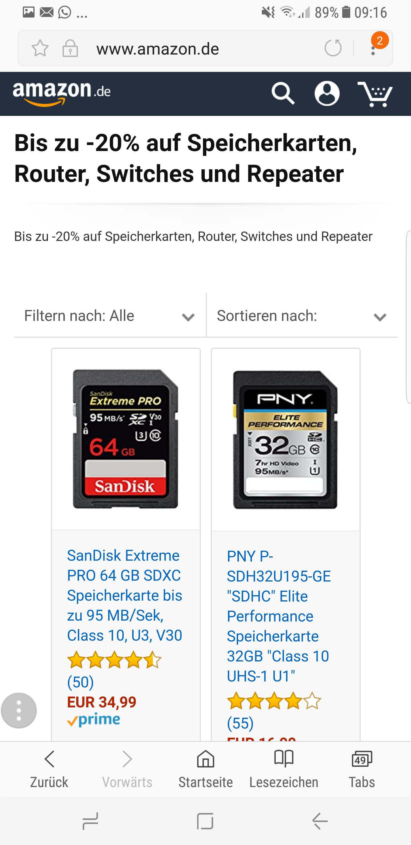 Angebot des Tages auf Amazon. Speicherkarten... bis zu  -20%