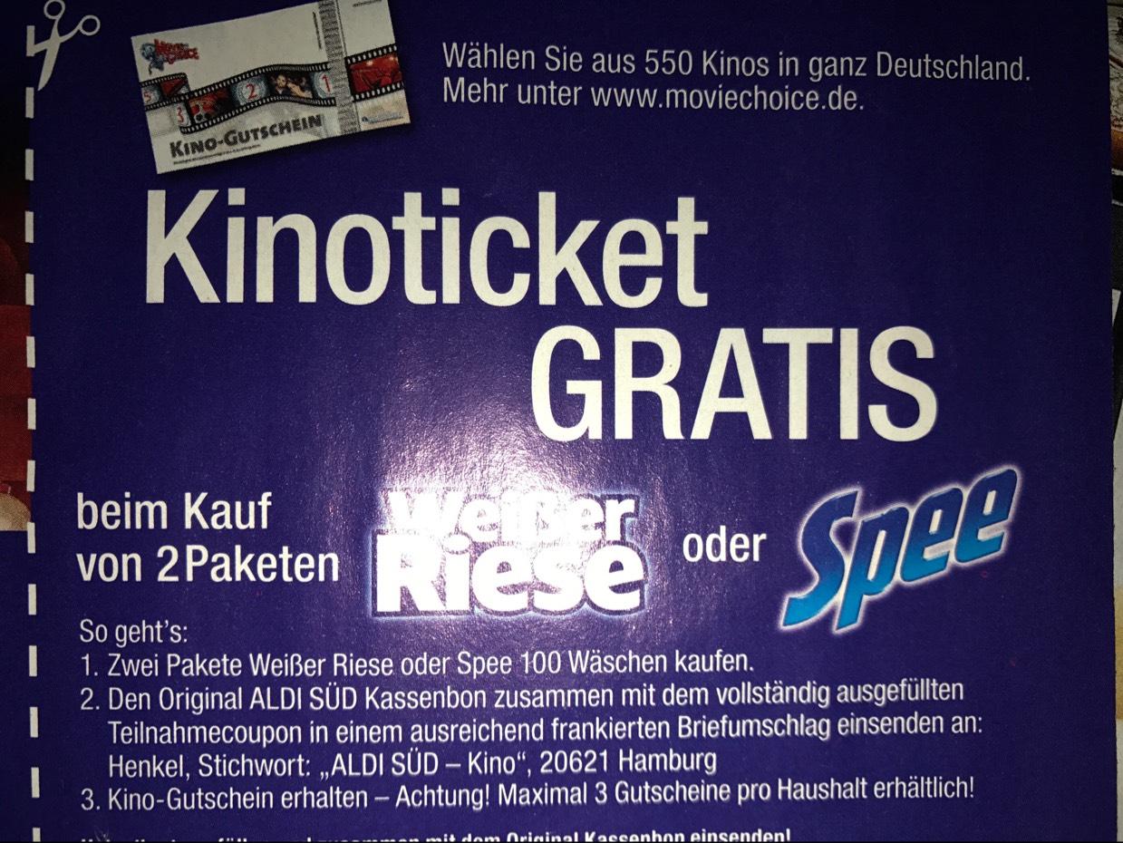 MovieChoice Kinoticket gratis beim kauf von 2 paketen weißer riese oder spee [aldi süd]