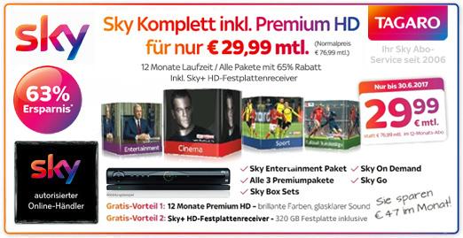 SKY Komplett-Abo für 29,99€ mtl.
