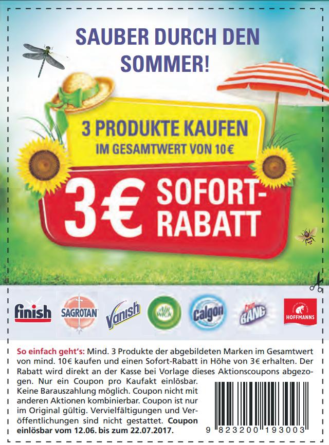 Neuer 3€ ab 10€ Sofort-Rabatt Coupon auf Finish/Sagrotan/Vanish/Air Wick/Calgon/Cilit Bang/Hoffmann's [Bundesweit]