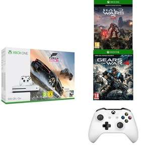 xbox one s 500GB Forza oder Fifa Bundle + Gears of War 4 + Halo Wars 2 + 2. Controller [Amazon.fr]