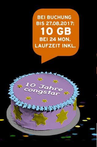 Congstar Allnet Flat Plus 10GB 42Mbit/s (kein LTE) inkl. SMS Flat für 25€ / Monat (Mit Gutschein effektiv für 22,07€/Monat)