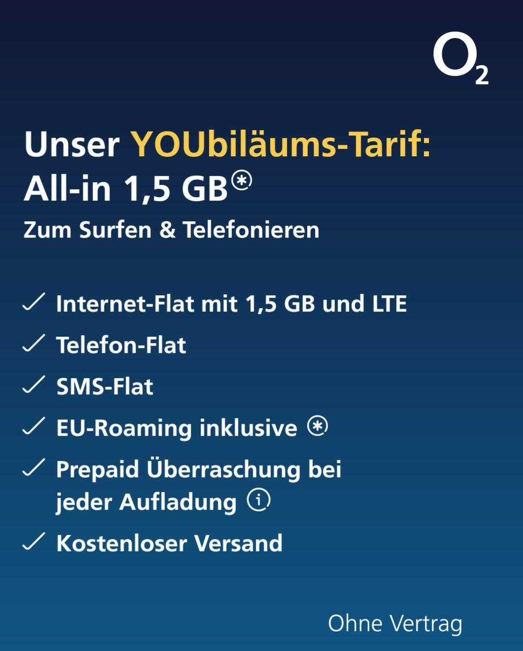 O² YOUbiläums-Prepaid-Tarif
