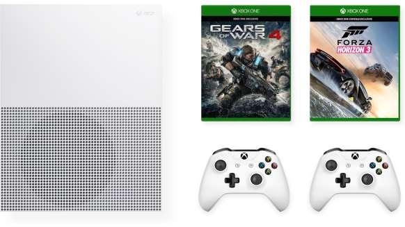 Microsoft Xbox One S 500GB + Forza Horizon 3 + Gears of War 4 + 2. Wireless Controller für 251€ (Microsoft UK)
