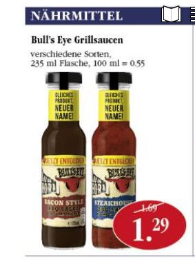 [Sky Supermarkt] 2 Flaschen Bull's Eye Grillsauce für 1,58 EUR mit Rabattschein