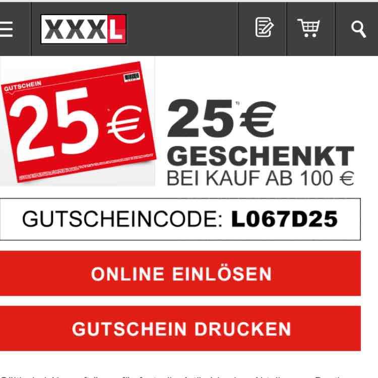 25€ XXXL Gutschein bei 100€ MBW