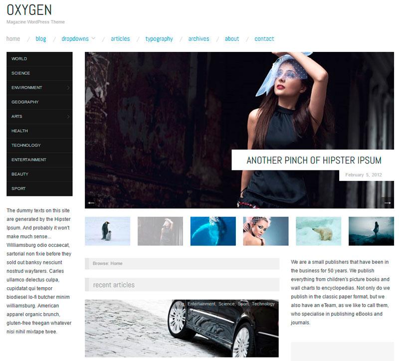 """[Wordpress] """"Oxygen"""" – Minimal Blog Magazin Template derzeit kostenlos statt 29 $"""