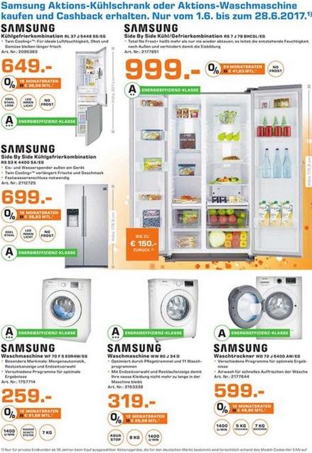 [lokal] 3 Jahre Saturn Hennef:Samsung RL37J5449 649€, Samsung RS53K4400SA/EG 699€, Samsung RS7J78BHCSL/EG 999€, Samsung WF70F5EBP4W/EG 259€, Samsung WW80J34D0KW/EG 319€ & Samsung WD72J5400AW/EG für 599€!