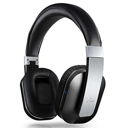 iDeaUSA Bluetooth 4.0 Kopfhörer, Drahtloser Stereo Kopfhörer mit Apt-X Technologie und eingebautem Mikrofon für Apple iOS/Android Geräte, Tablets, Notebooks, TV – Schwarz/Silber für 39,99€ [Amazon]