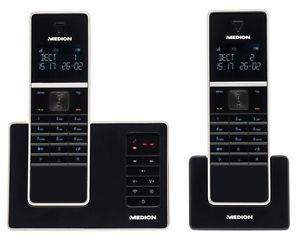 MEDION LIFE P63040-Twin-DECT-2er-Set-schnurlos-Telefon-integr-Anrufbeantworter