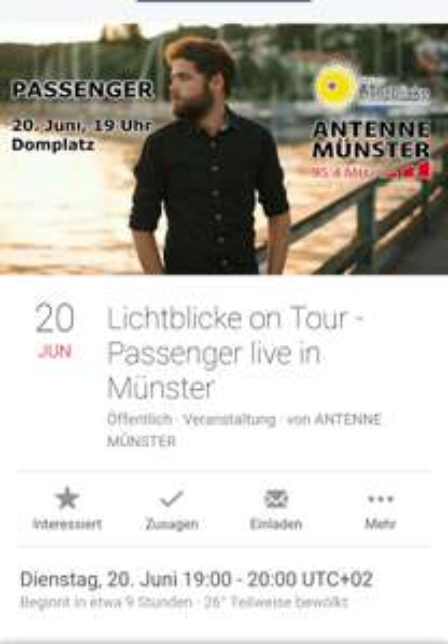 [Lokal Münster Domplatz] Gratiskonzert heute um 19 Uhr PASSENGER LIVE IN MÜNSTER