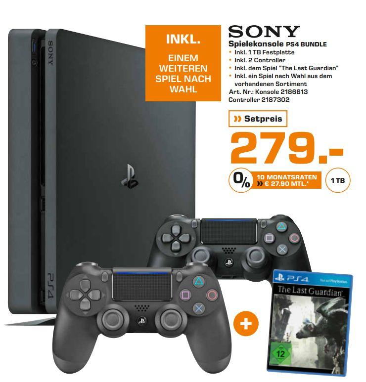 [Lokal Saturn Hamburg/Norderstedt] Sony PlayStation 4 (PS4) Slim 1TB + 2.Controller + The Last Guardian + 1 Spiel nach Wahl aus dem Gesamten Sortiment für 279,-€